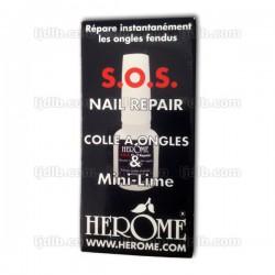 SOS Nail Repair Colle à Ongles & Mini-Lime Herôme - Répare instantanément les ongles fendus ! - Flacon 10ml
